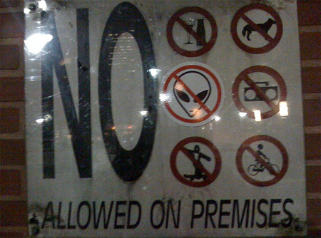No aliens allowed on premises